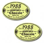 PAIR Distressed Aged Established 1988 Aged To Perfection Oval Design Vinyl Car Sticker 70x45mm Each